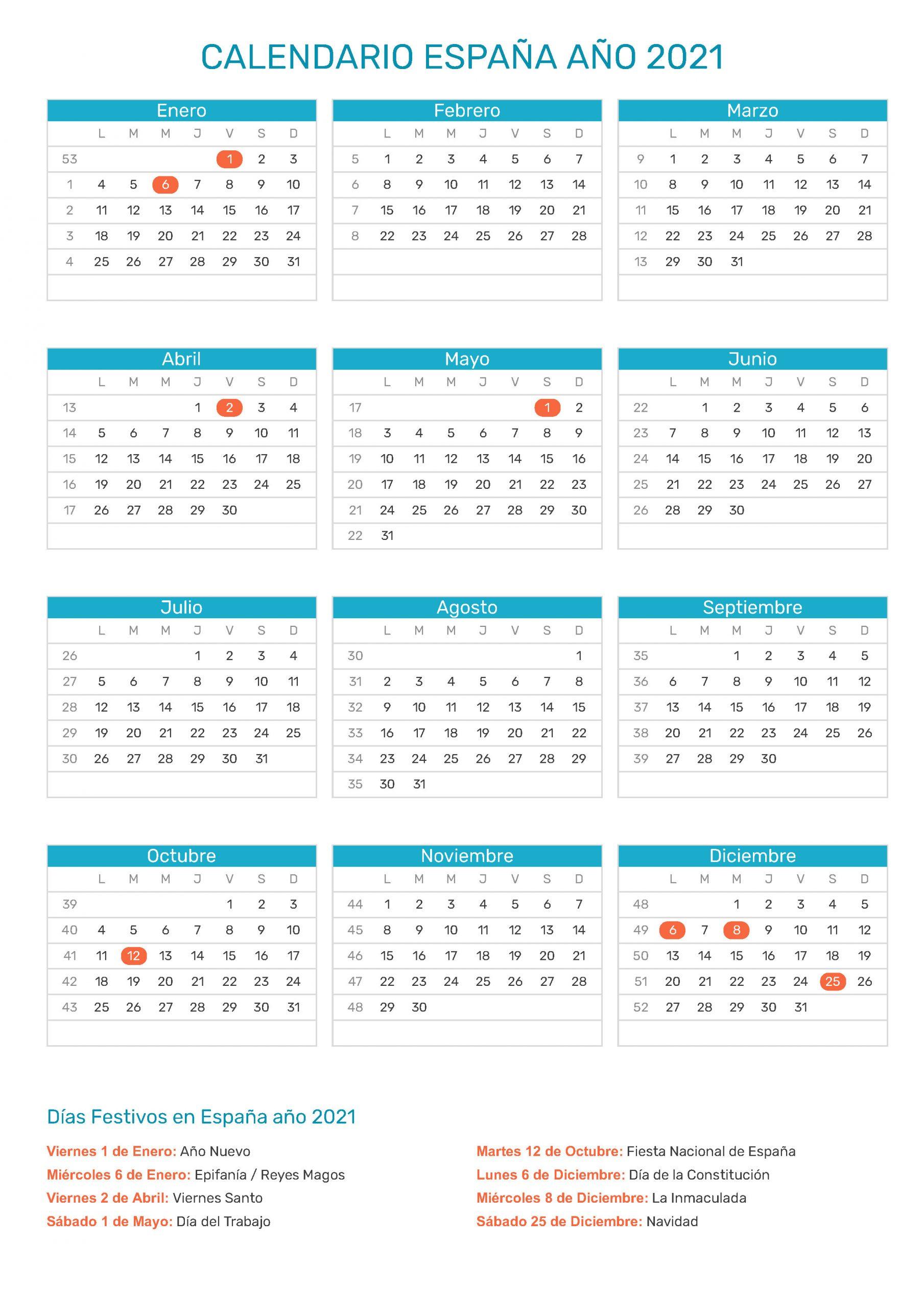 Calendario De España Año 2021   Festivos