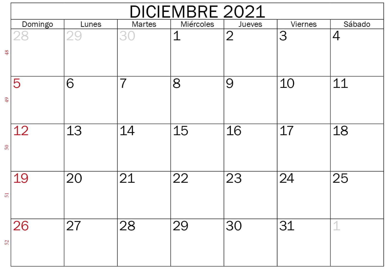 Calendario Diciembre 2020 Para Imprimir Gratis