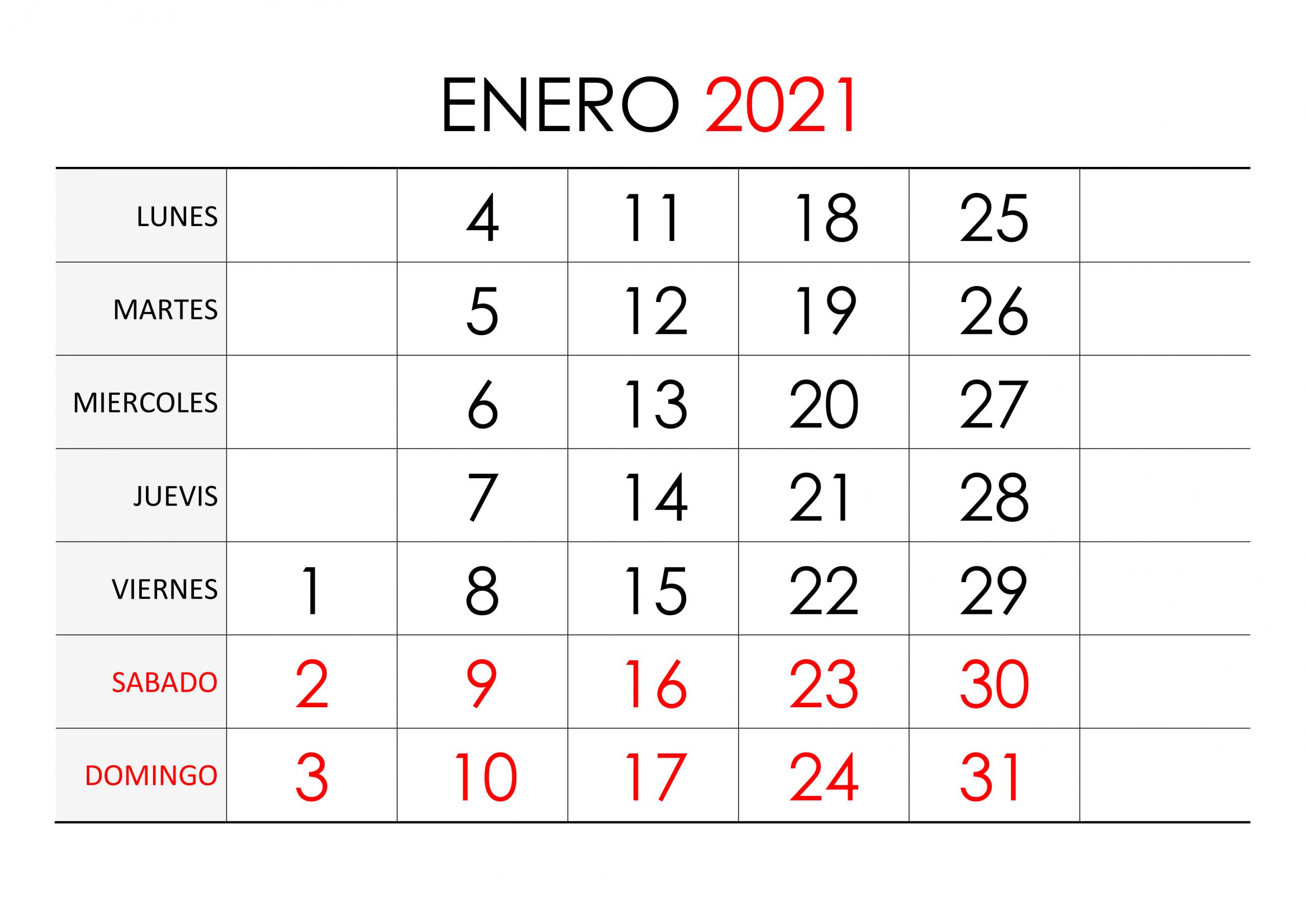 Calendario Enero 2021 - Calendariossu