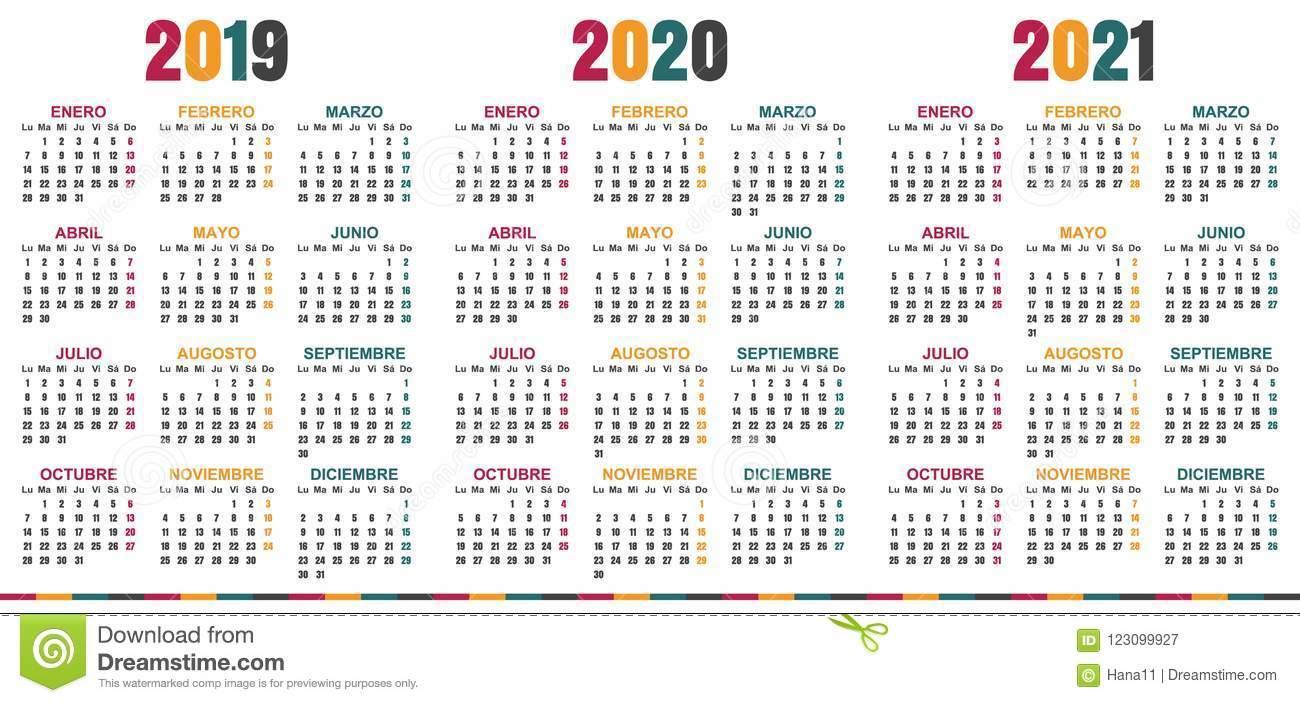 Calendario Español 2019-2021 Ilustración Del Vector
