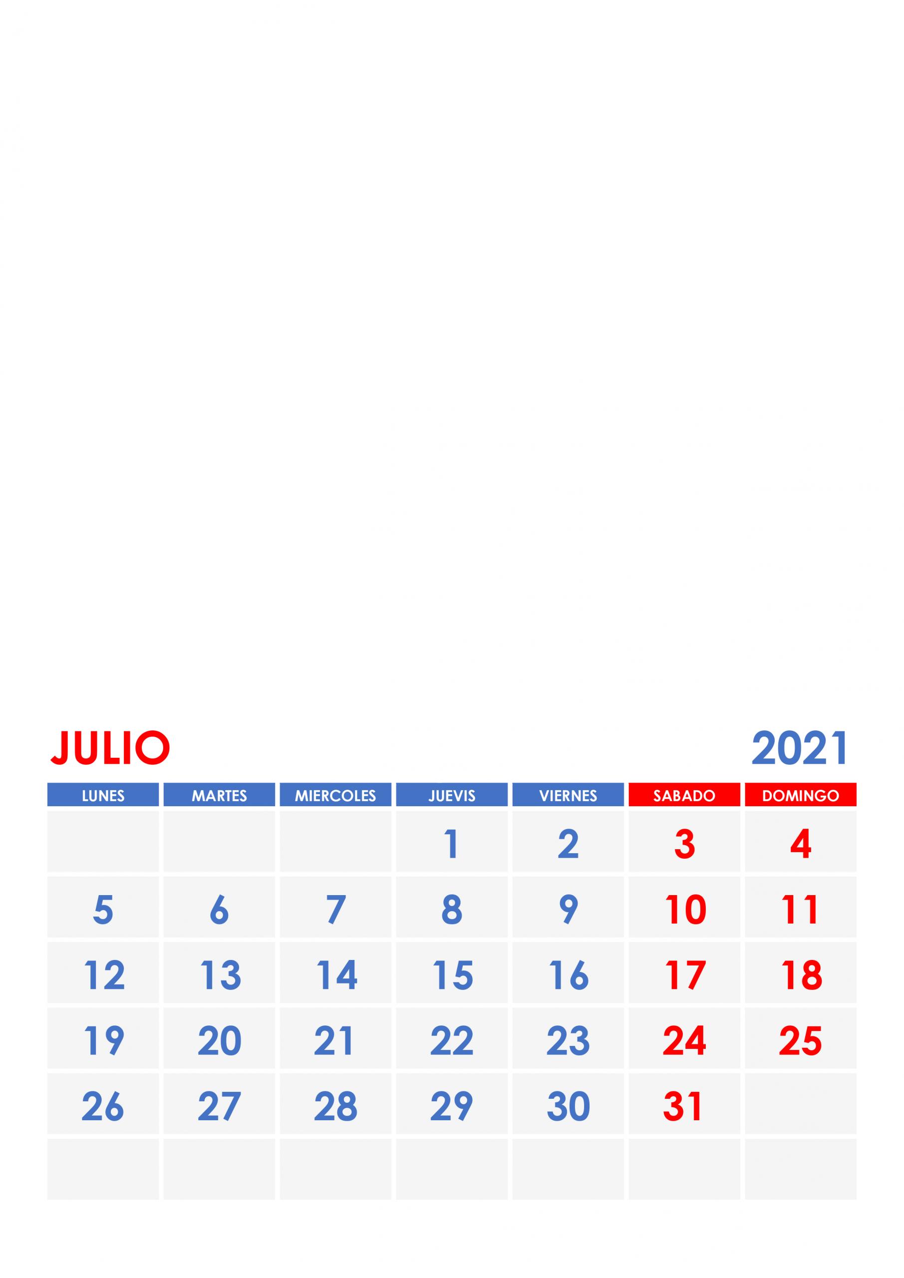 Calendario Julio 2021 - Calendariossu