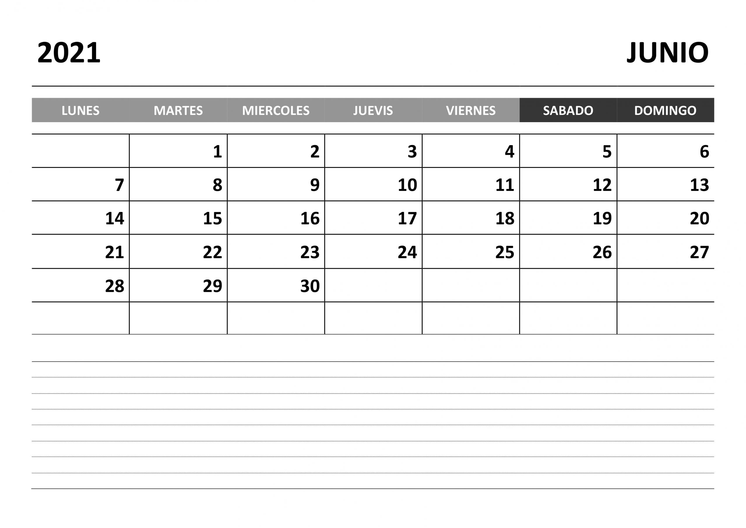 Calendario Junio 2021 - Calendariossu