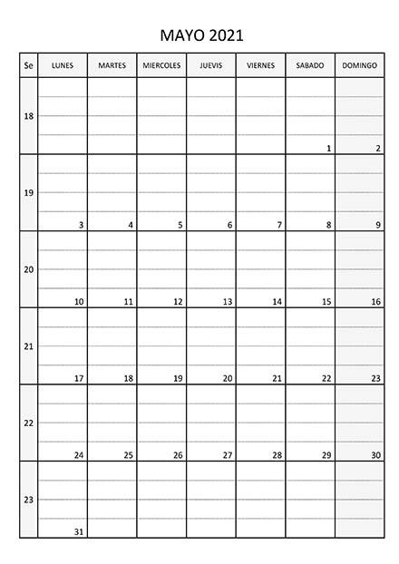 Calendario Mayo 2021 - Calendariossu