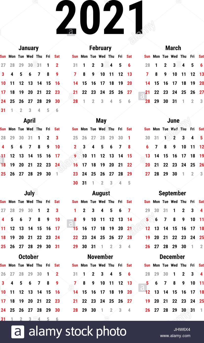 Calendario Para 2021 Imagen Vector De Stock - Alamy