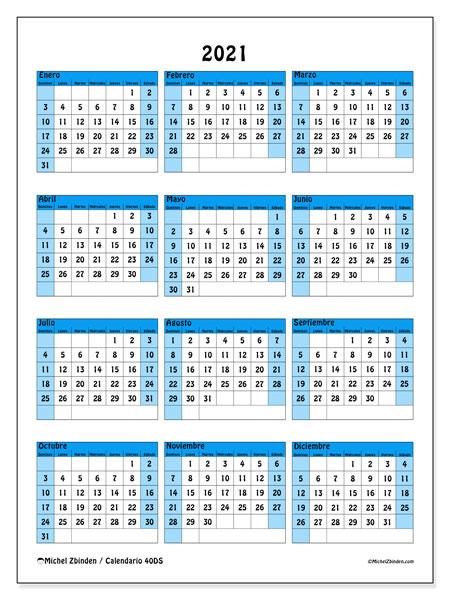 """Calendarios 2021 """"Domingo - Sábado"""" - Michel Zbinden Es"""