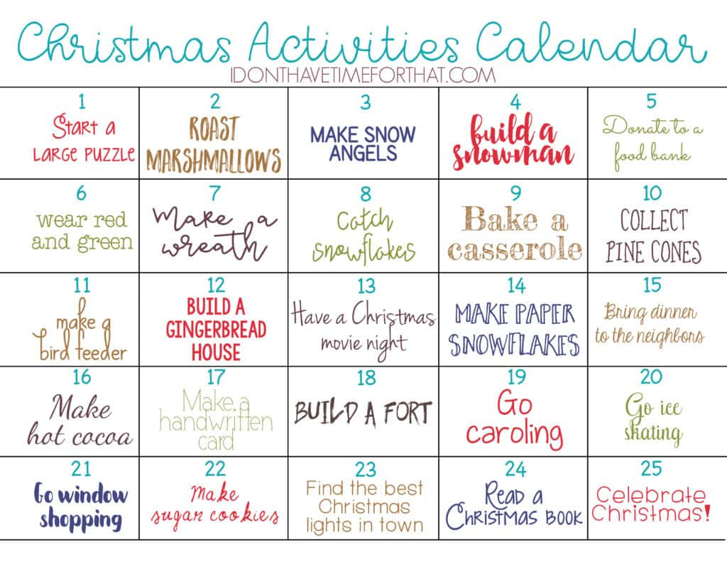 Christmas Activities Countdown Calendar! - I Don'T Have