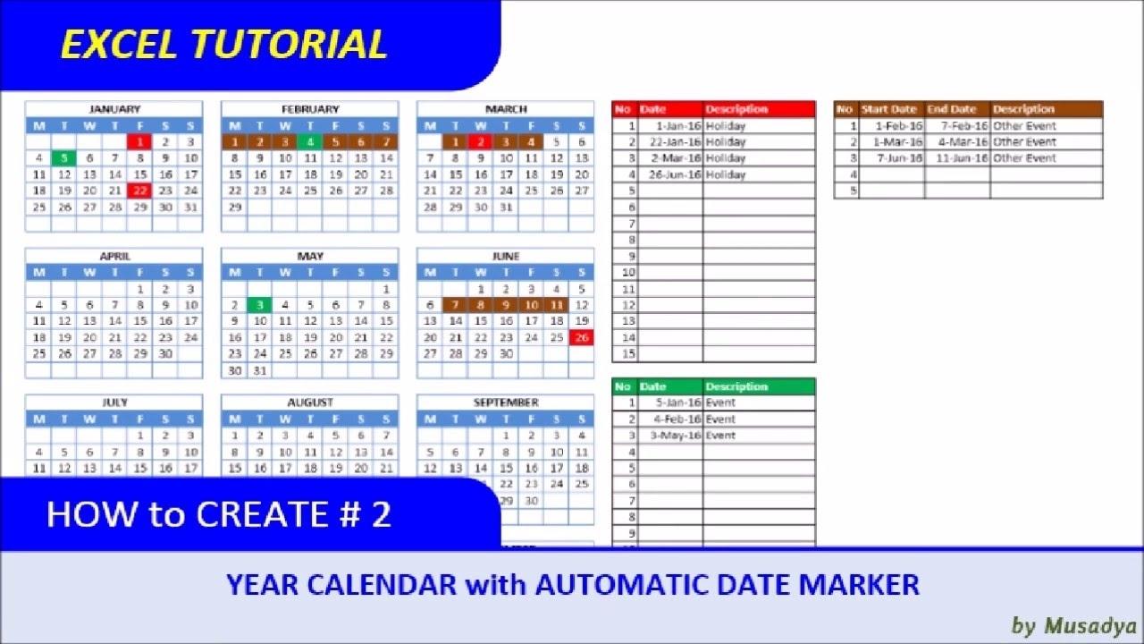 Color Coded Calendar In Excel | Calendar Template 2021