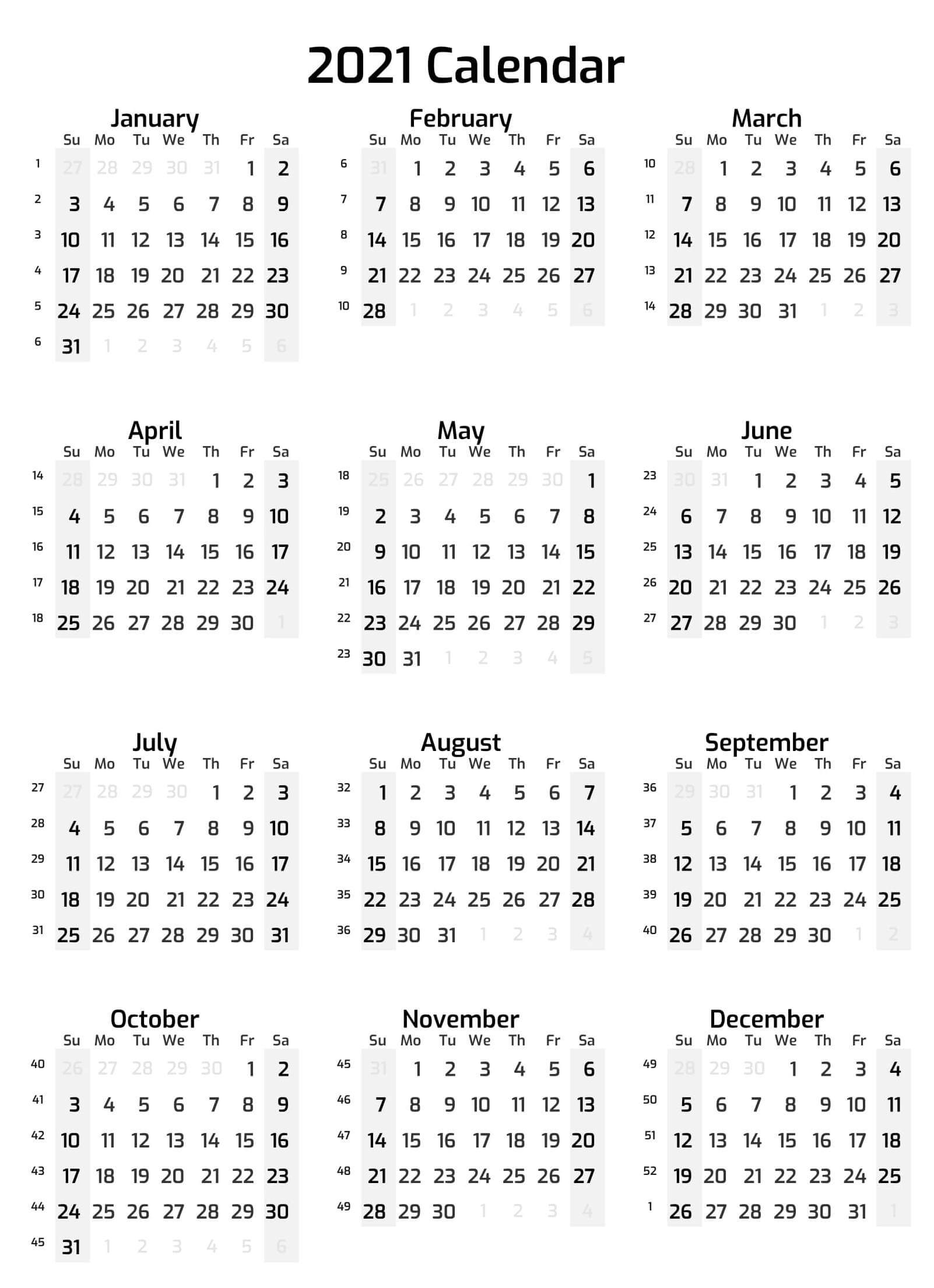 Cute Calendar 2021 Printable Template With Notes - Set