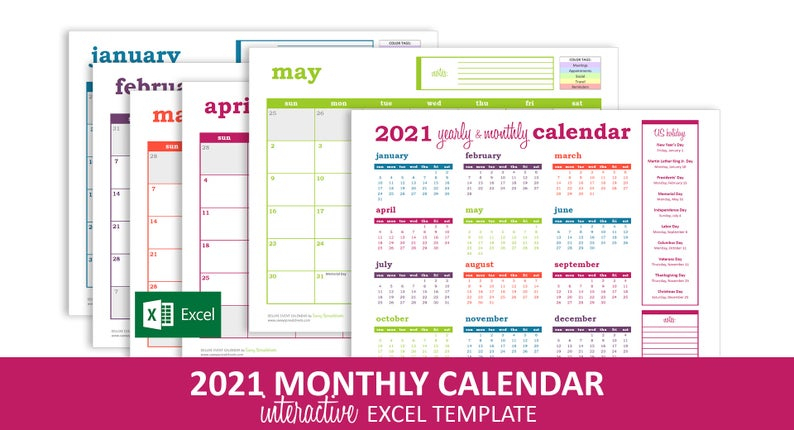 Deluxe Event Calendar 2021 Excel Template Printable | Etsy