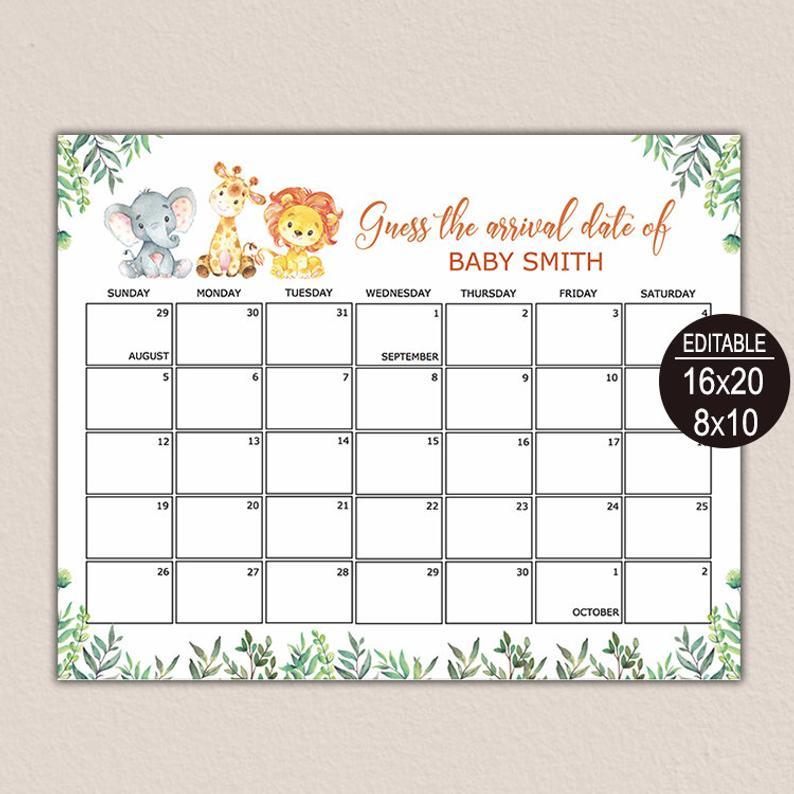 Due Date Calendar Game Guess Baby Birthday Calendar Baby