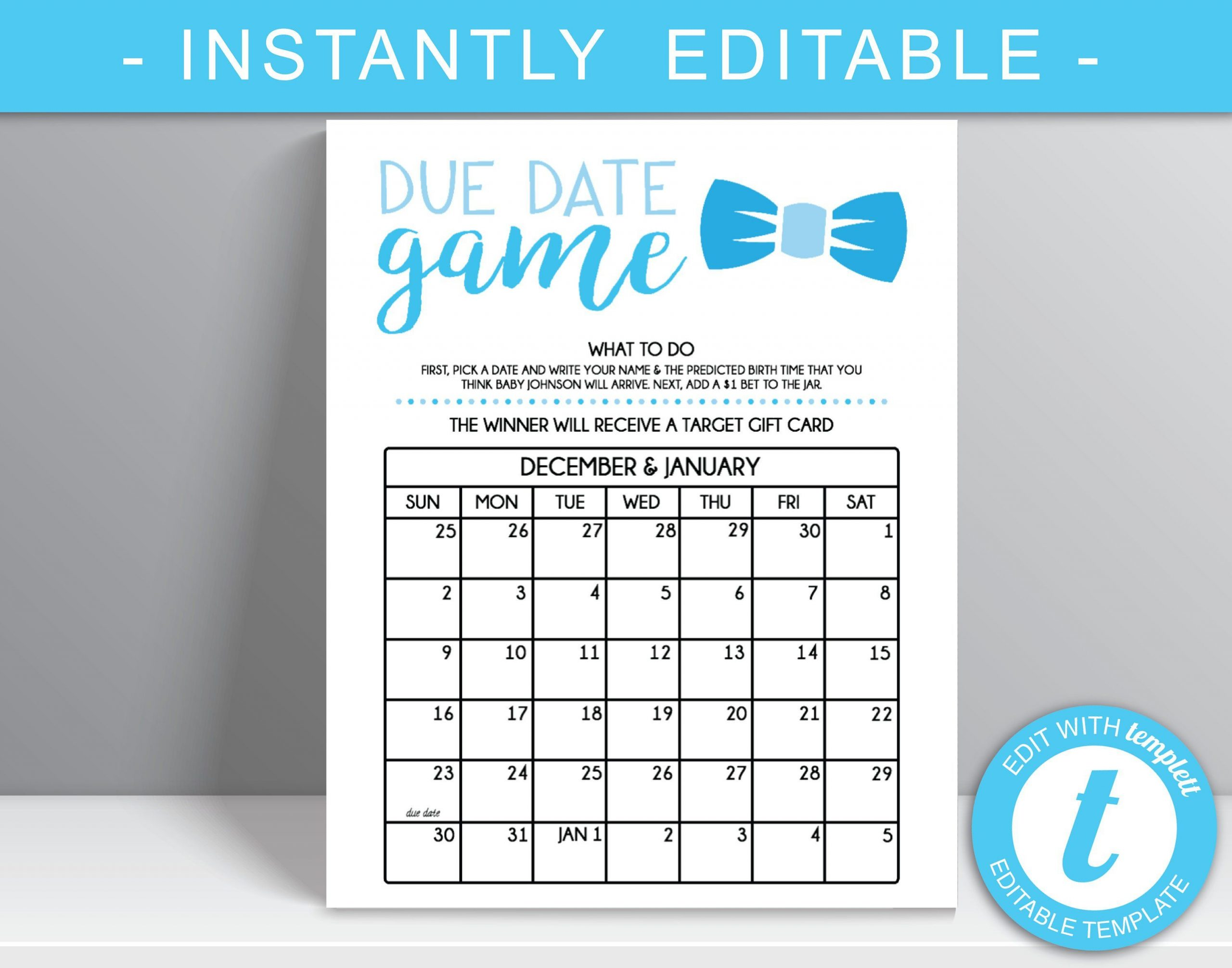 Due Date Game 16X20 Poster File, Guess The Due Date Game