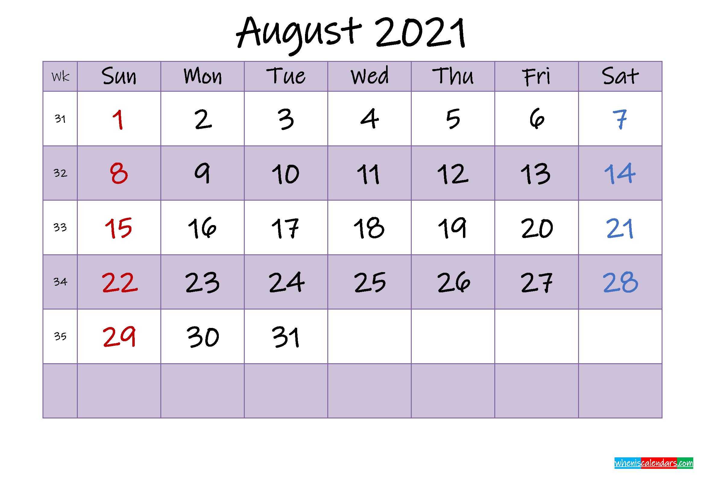 Editable August 2021 Calendar - Template Noink21M464