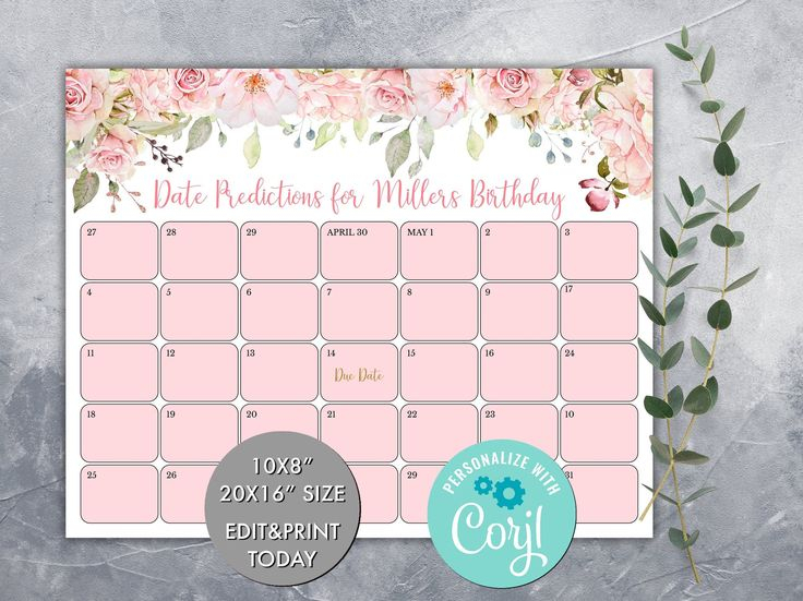 Editable Guess Baby'S Due Date Calendar Game, Pink Floral