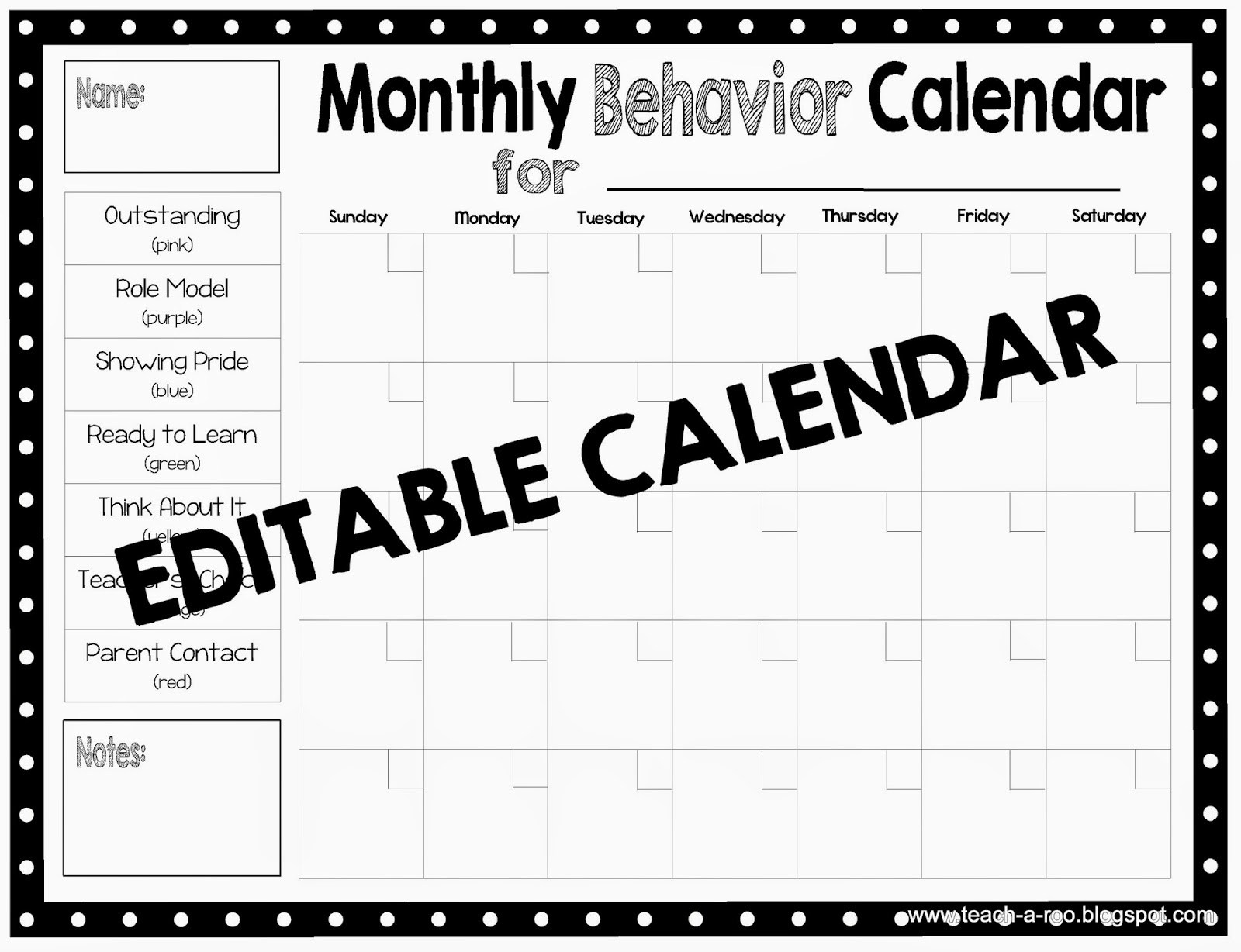Editable Monthly Behavior Chart | Example Calendar Printable