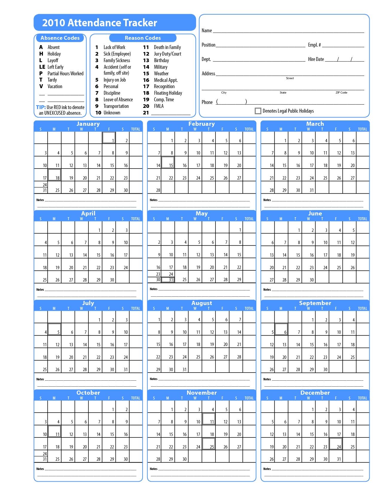 Excel Employee Attendance Calendar Template - Calendar