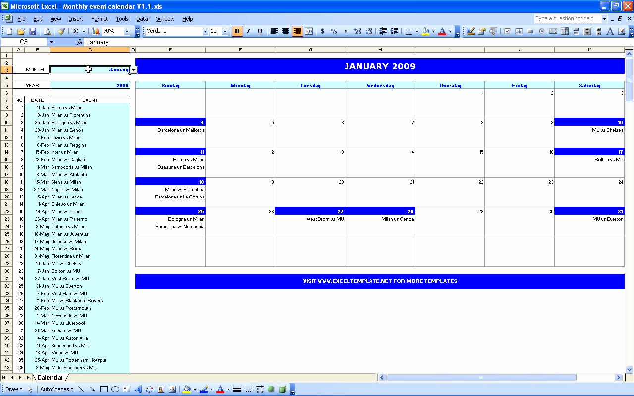 Excel Monthly Calendar Template | Akademiexcel