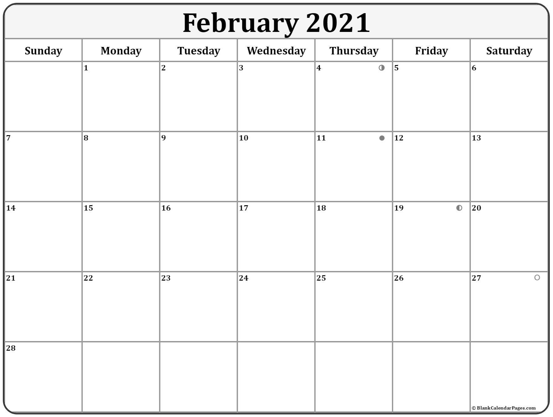 Feb 2021 Free Printable Calendar With Holidays And Moon