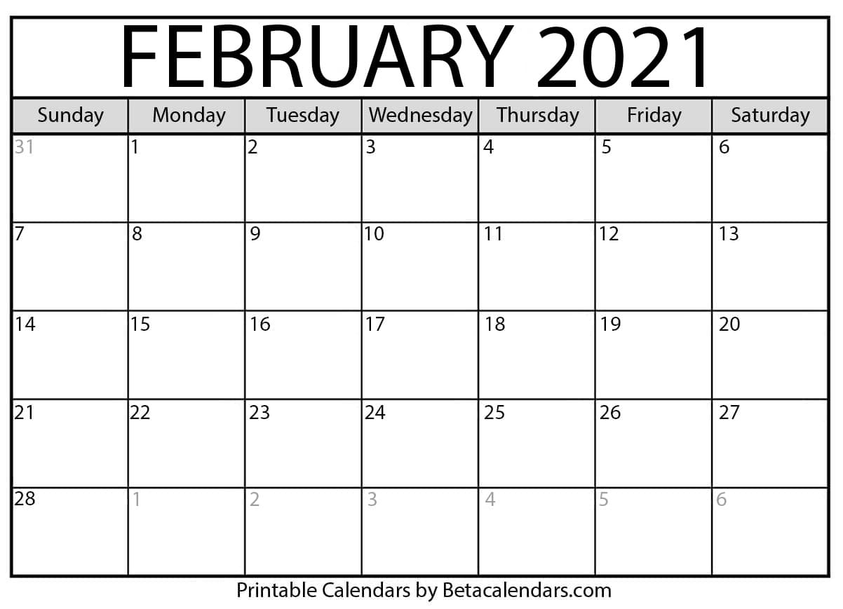 February 2021 Calendar Printable Pdf | 2021 Printable