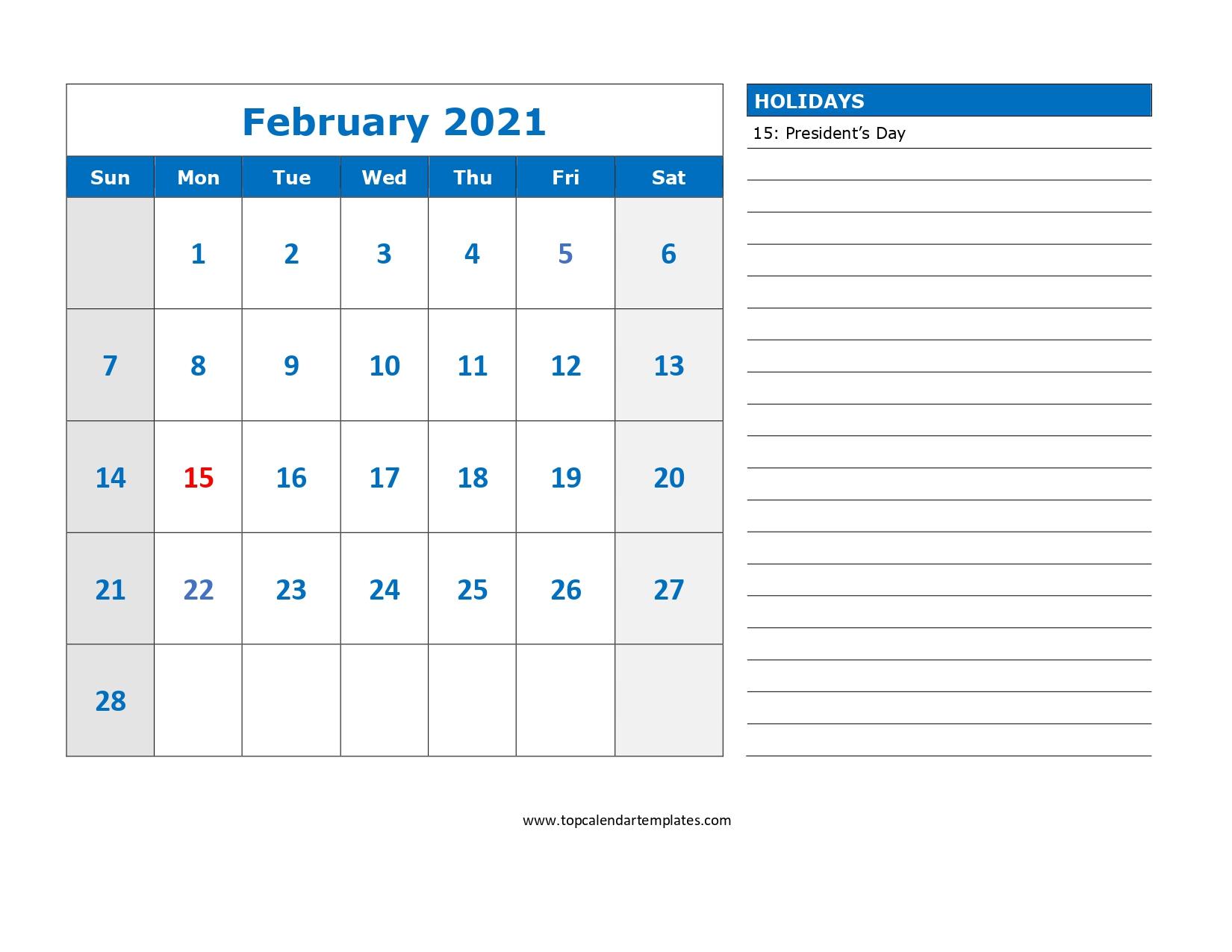 February 2021 Printable Calendar In Editable Format