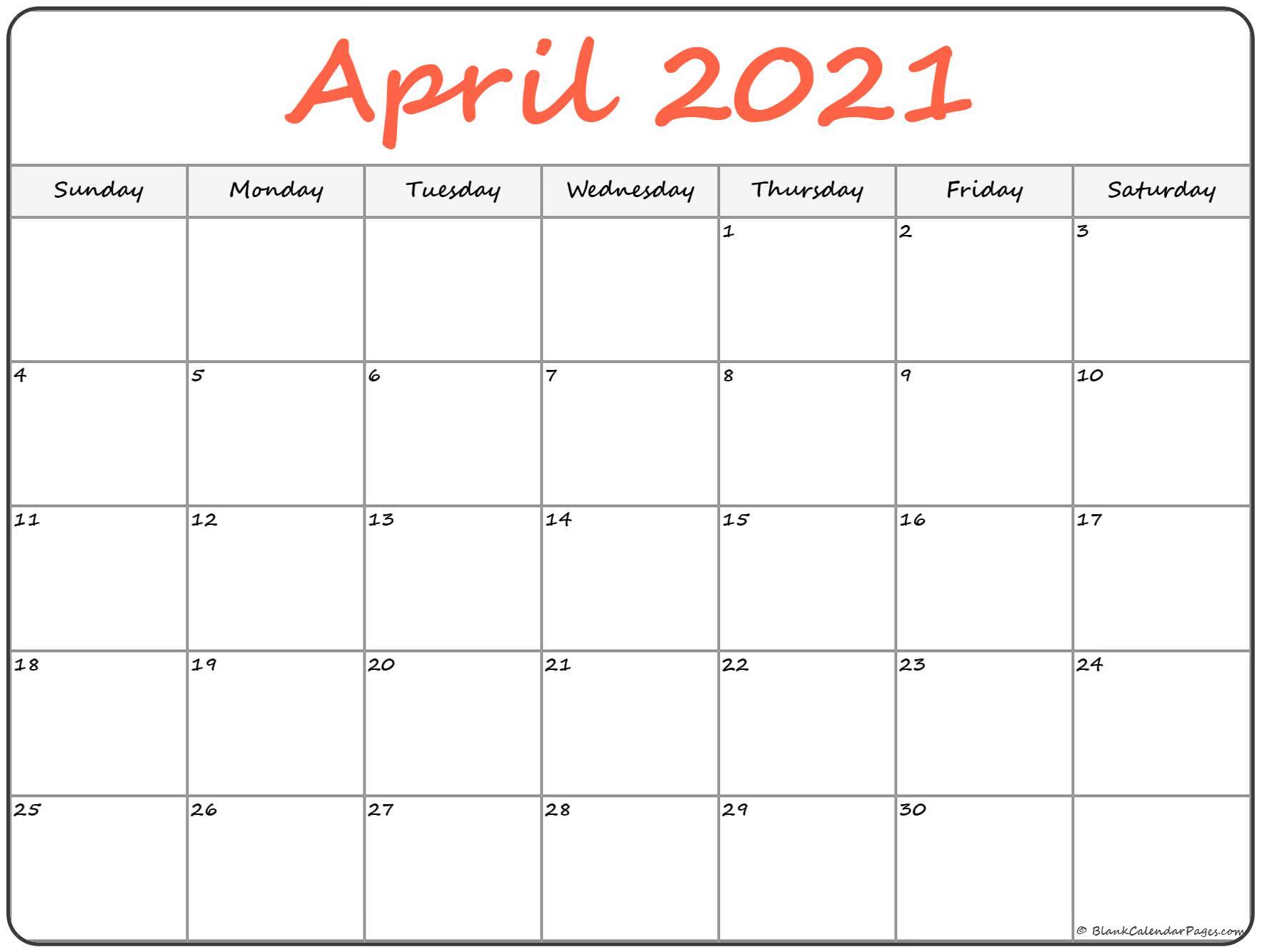 Free April 2021 Calendar Printable - Blank Templates