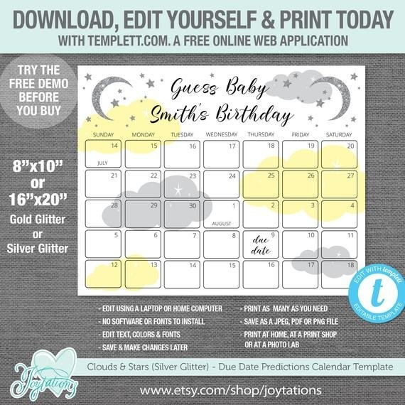 Free Baby Due Date Guess Calendar Templates To Print Image