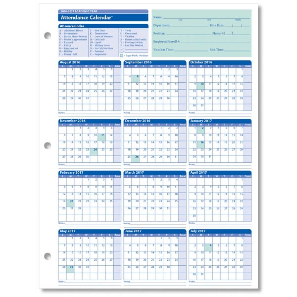 Free Employee Attendance Calendar 2018 | Calendar Template