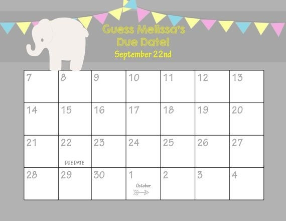 Free Guess The Due Date Template Photo | Calendar Template