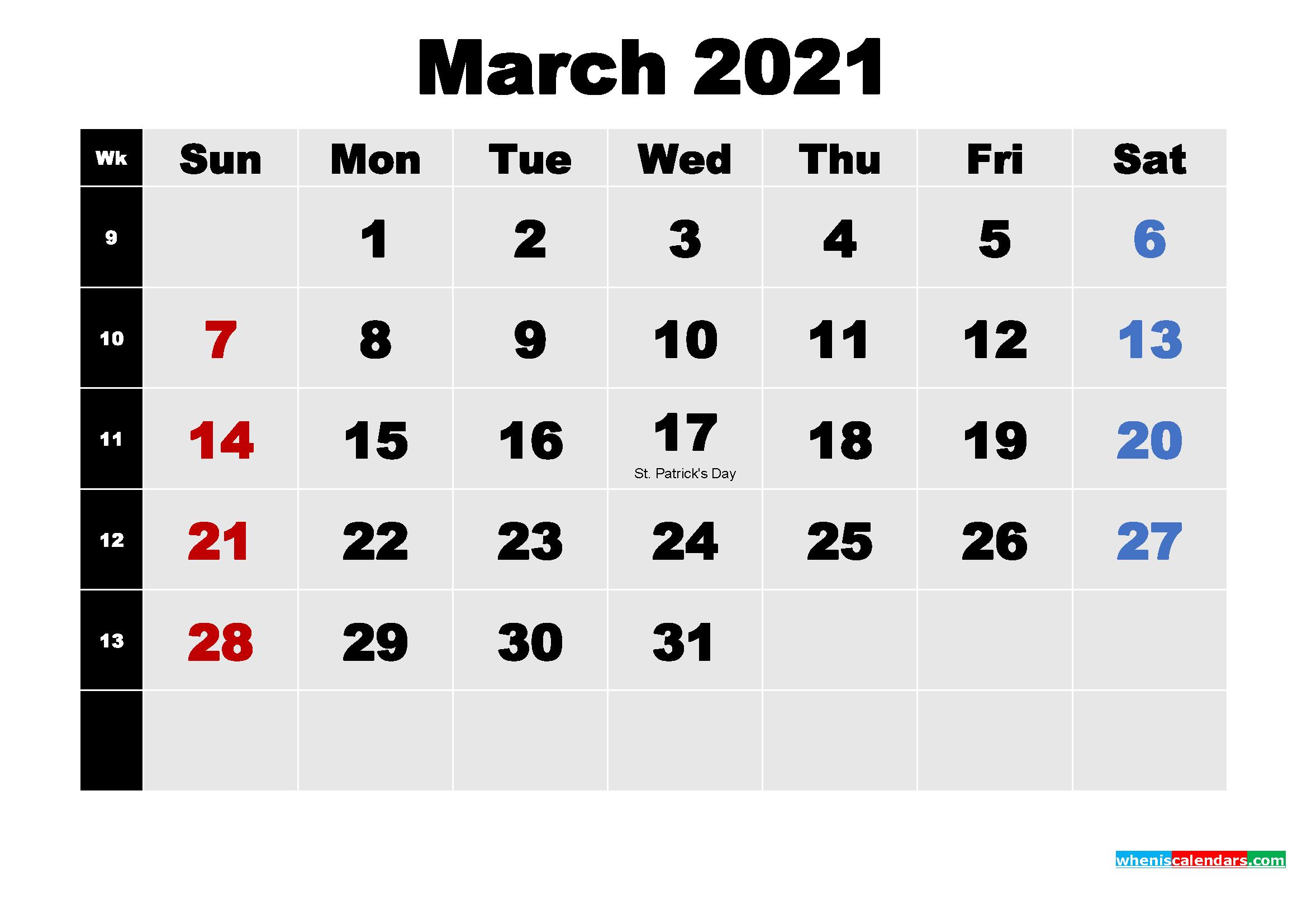Free March 2021 Printable Calendar Template Word, Pdf