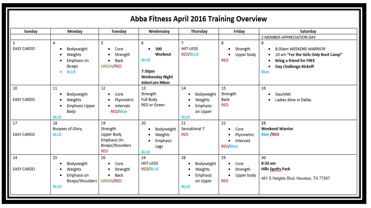 Free Monthly Training Program & Workout Plan | Abba Fitness