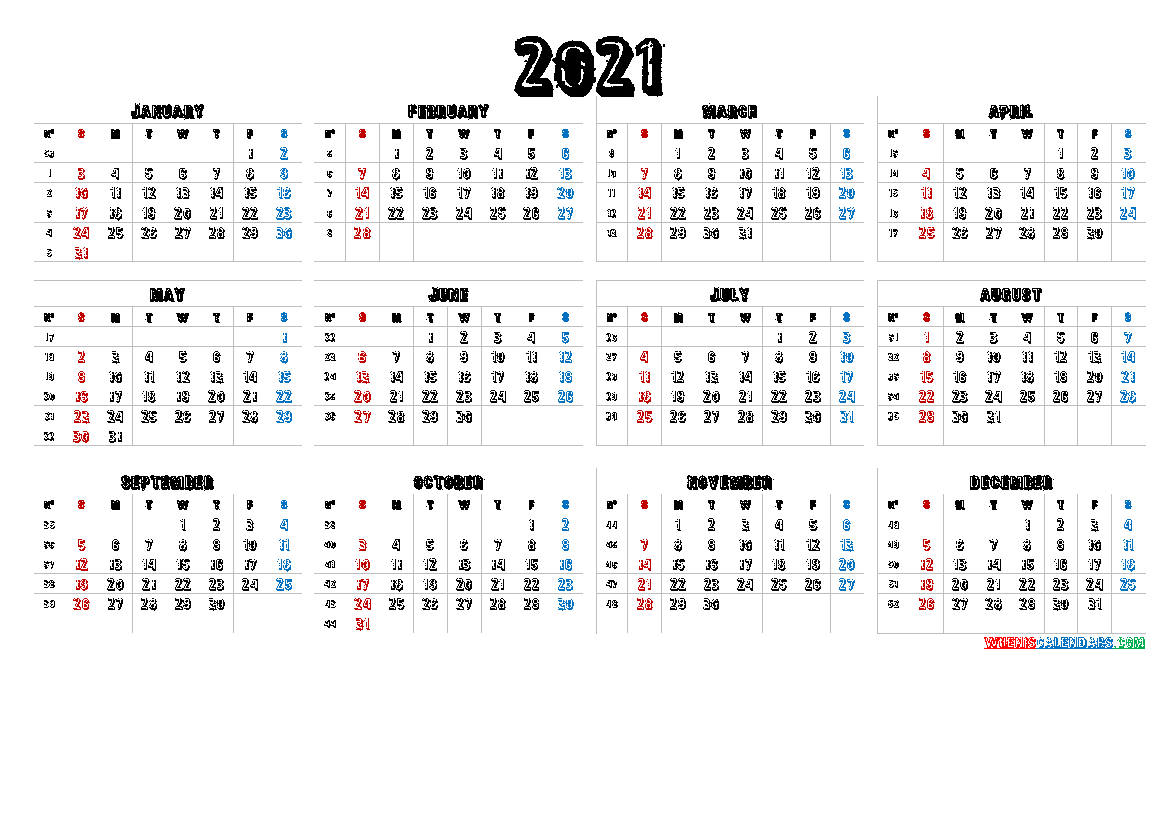 Free Printable 12 Month 2021 Calendar With Lines | Free
