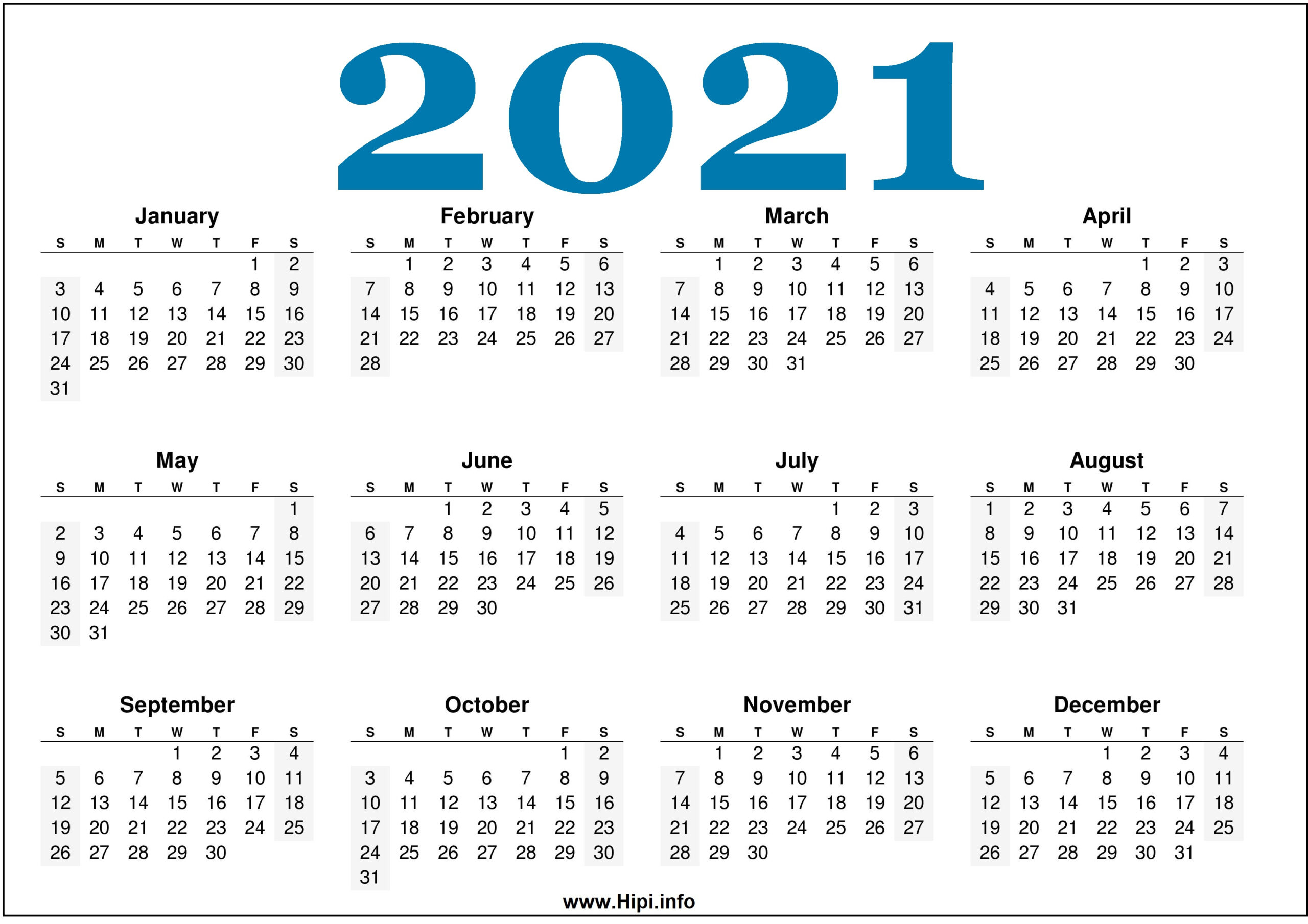 Free Printable 2021 Calendars Horizontal Hipi Info - Easy
