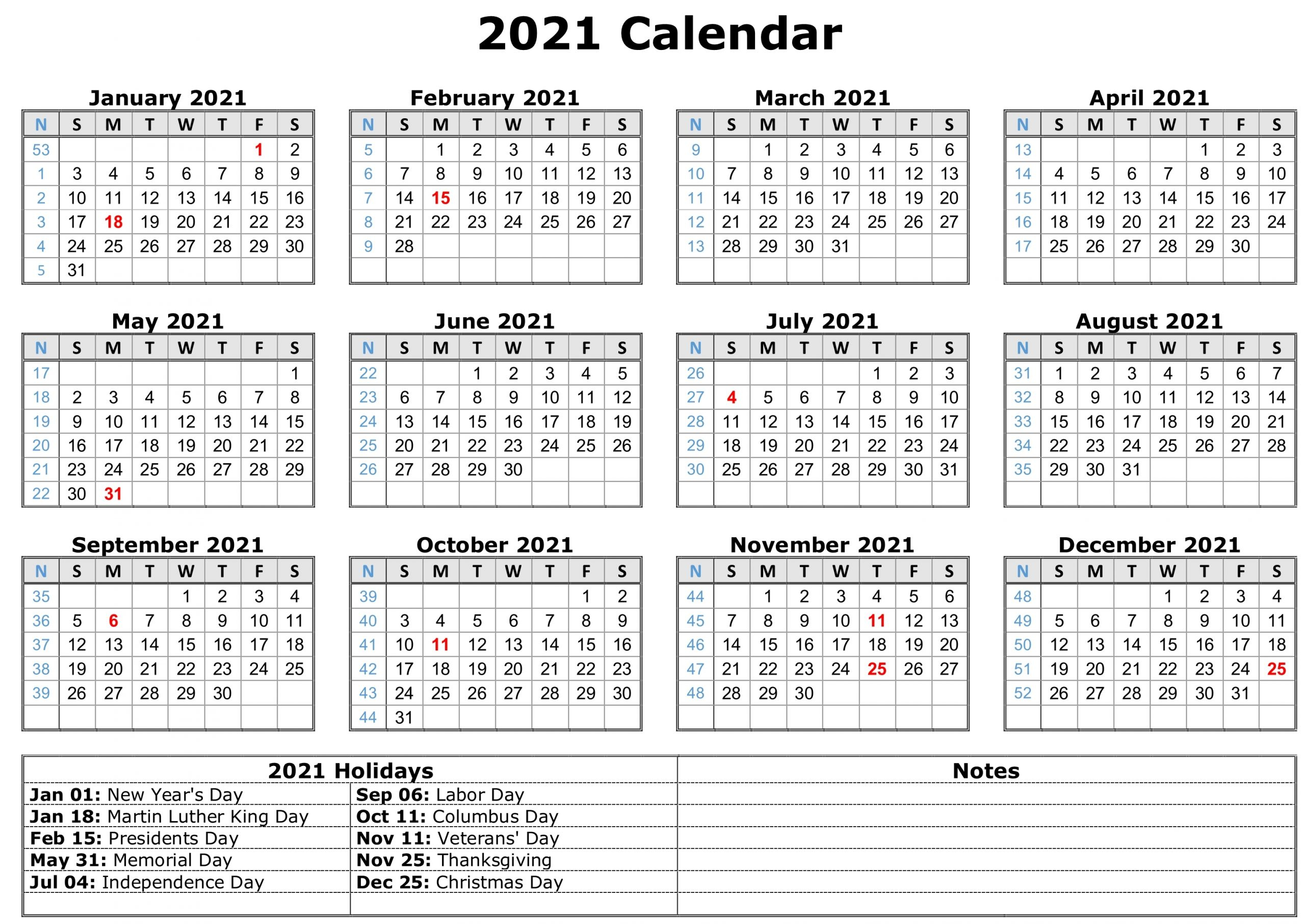 Free Printable 2021 Monthly Calendar With Holidays