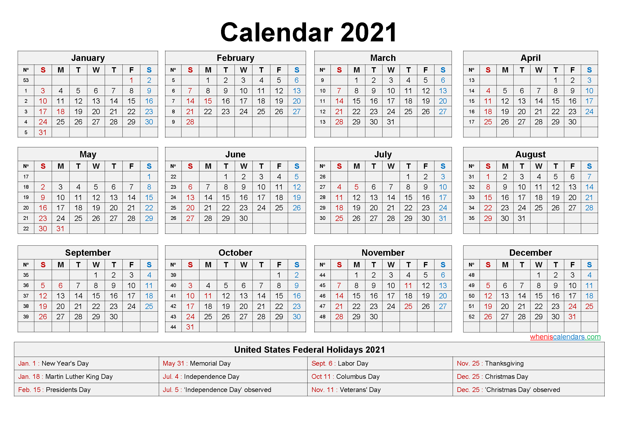 Free Printable 2021 Monthly Calendar With Us Holidays