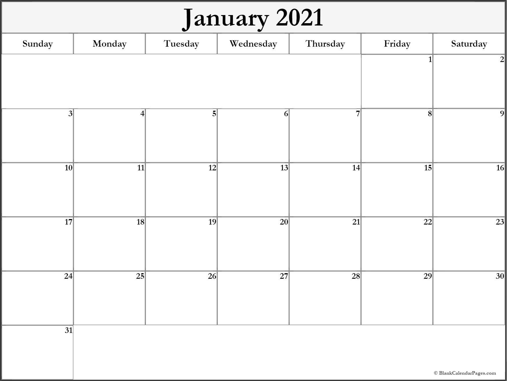 Free Printable Blank Calendar Pages 2021 | Printable Calendar