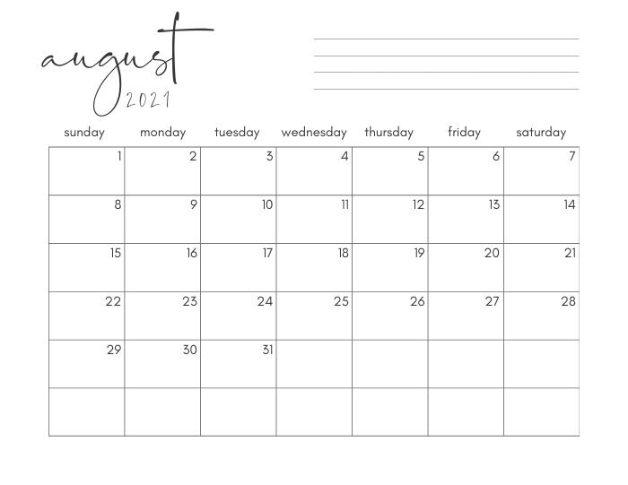 Free Printable Calendar (2021) - Easy To Download + Print