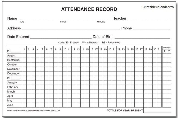 Free Printable Employee Attendance Sheet Pdf, Word, Excel