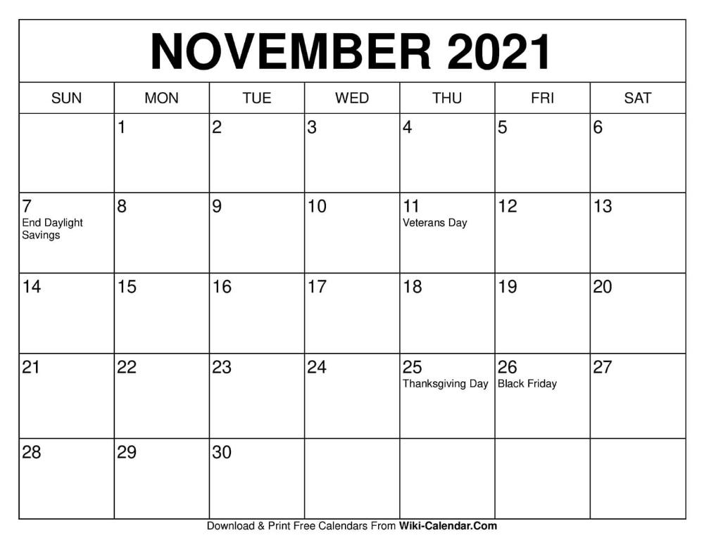 Free Printable November 2020 Calendars In 2020   2021