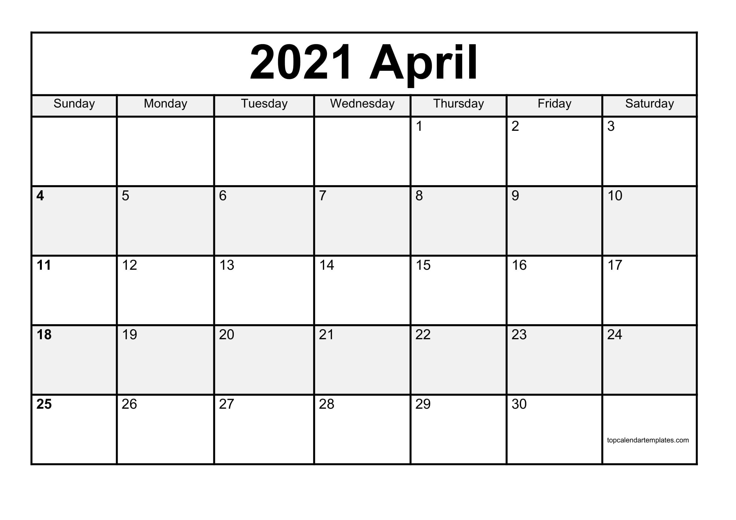 Free Printable Word Calendar April 2021 | Printable Calendar