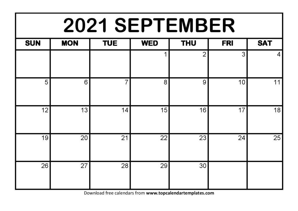 Free September 2021 Calendar Printable - Blank Templates