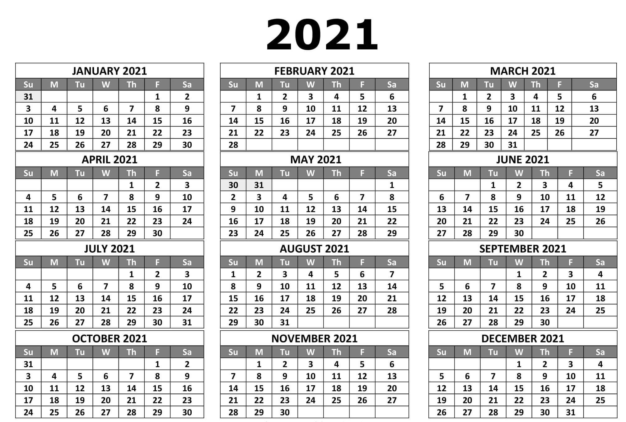 Full Year Printable Calendar 2021 With Notes - Set Your