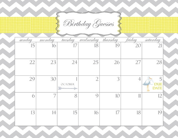 Guess Babys Due Date Printable Calendar :-Free Calendar