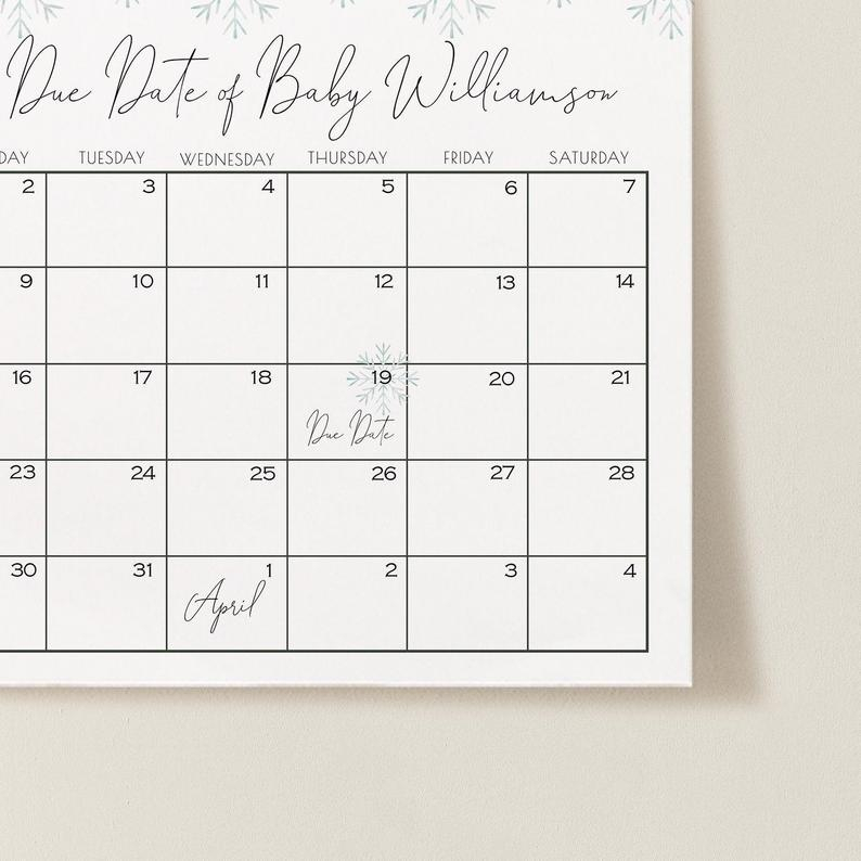 Guess Due Date Calendar Snowflake Baby Shower Gender