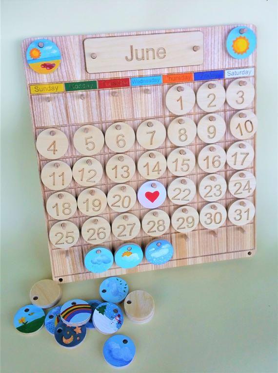 Home School Child Perpetual Calendar, Wooden Perpetual