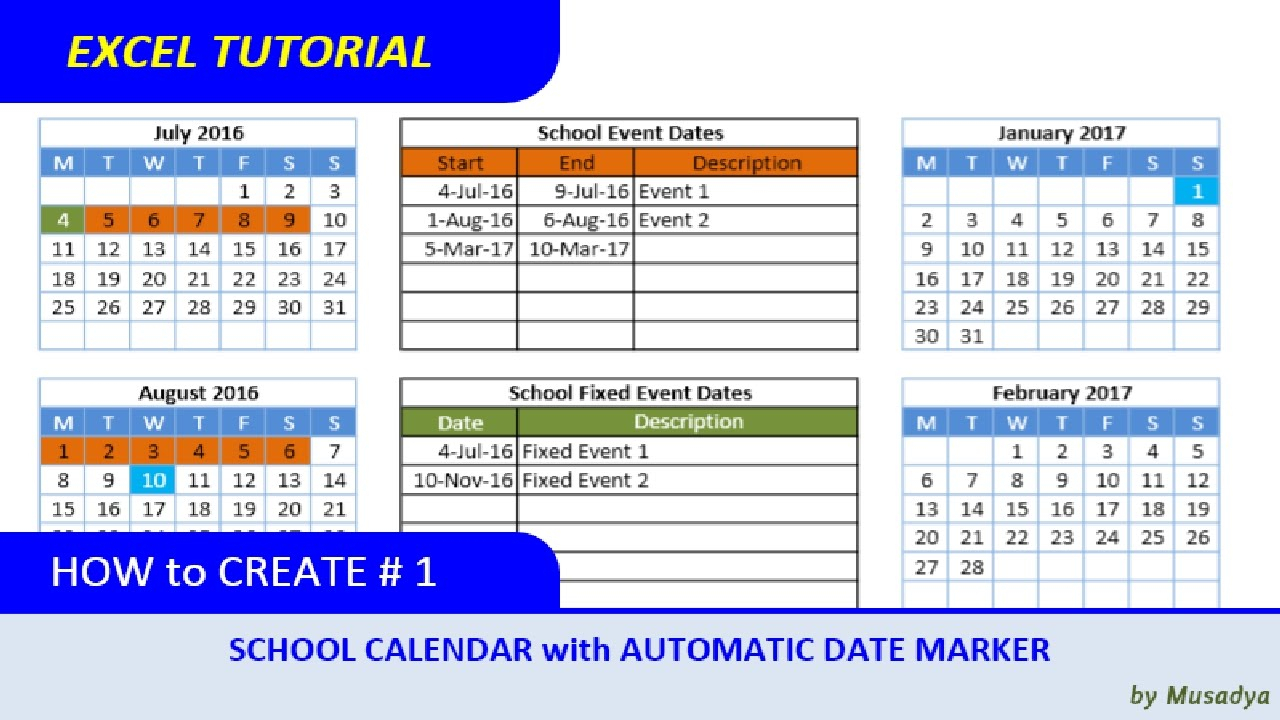 How To Create Excel School Calendar With Automatic Date