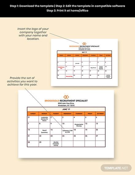 Hr Annual Planning Calendar Template - Pdf | Word (Doc