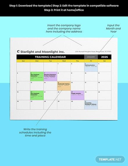 Hr Training Calendar Template - Pdf | Word (Doc) | Excel