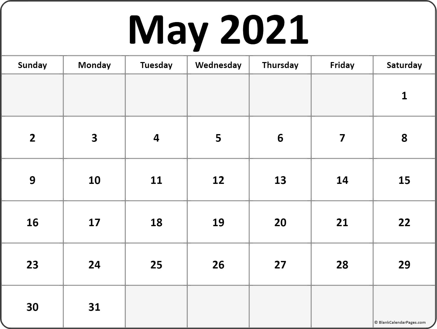May 2021 Blank Calendar Templates