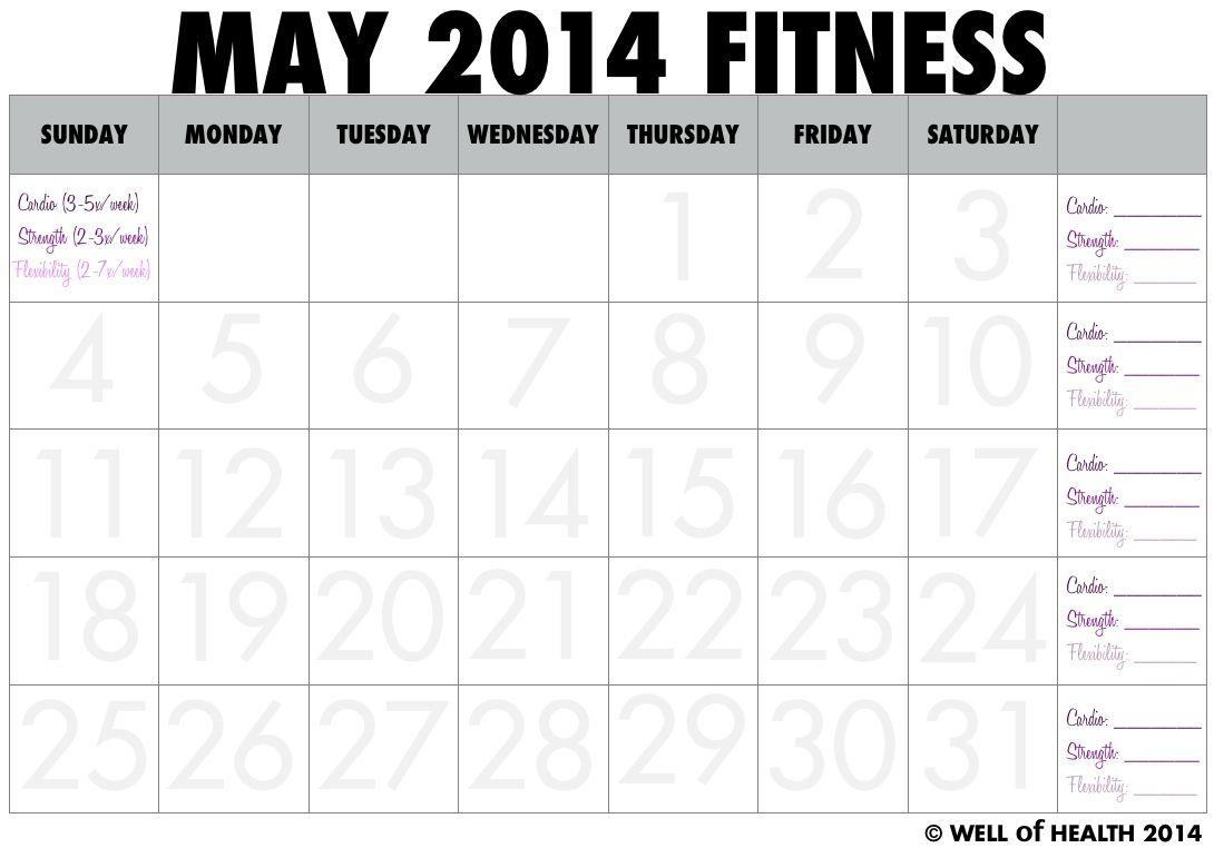 Mayworkout May 2014 Printable Fitness Calendar | Workout