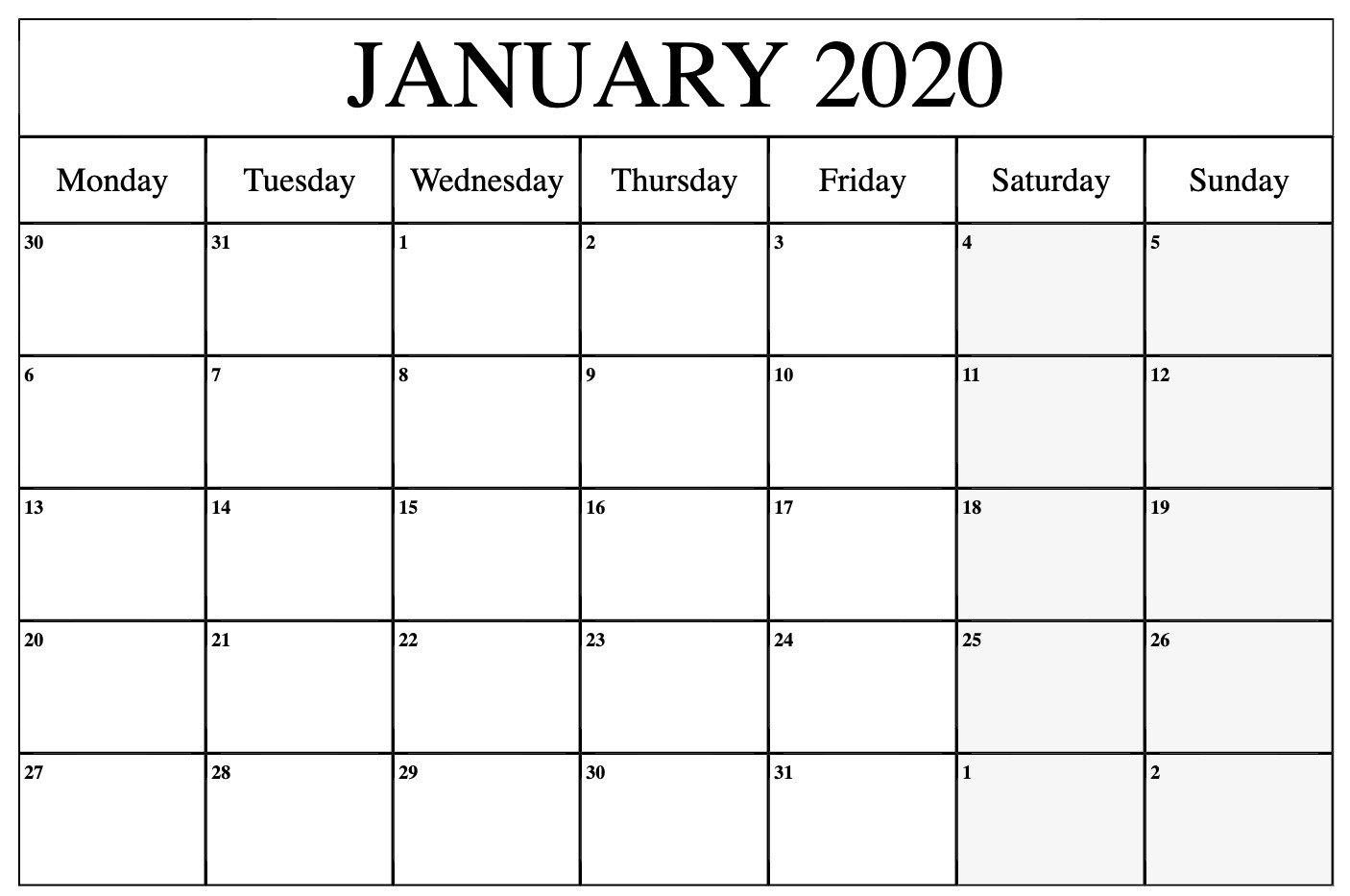 Monday Through Sunday Calendar Word :-Free Calendar Template