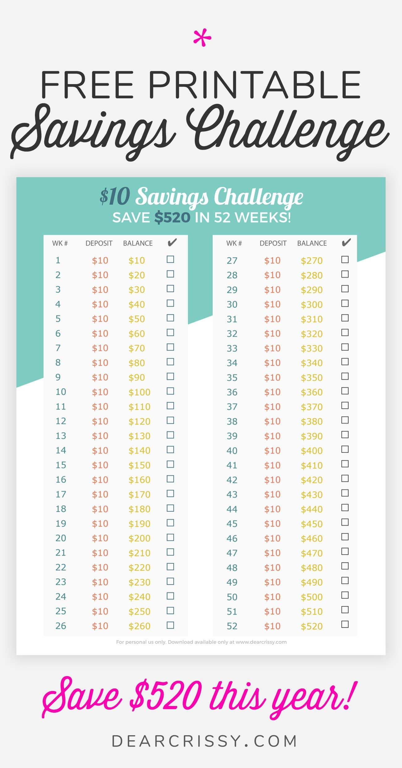 Money Savings Challenge Printable - Easy $10 Money Savings